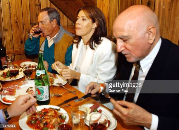 New York Mayor Michael Bloomberg has lunch with actors Dominic Chianese and Lorraine Bracco of the hit HBO series 'The Sopranos' at Dominic's Bar...