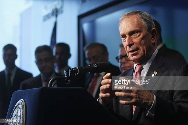 New York Mayor Michael Bloomberg speaks at a press conference as construction continues at the World Trade Center site on September 7 2011 in New...