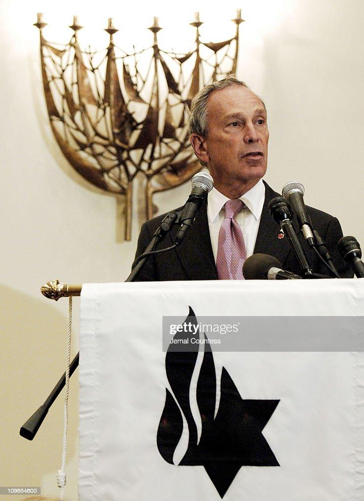 New York Mayor Michael Bloomberg speaks at the New York Memorial Service for Simon Wiesenthal on September 27, 2005 in New York City