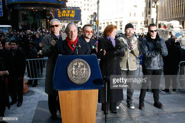 New York Mayor Michael Bloomberg speaks at the renaming ceremony where part of West 53rd Street has been renamed U2 Way as Adam Clayton Bono City...