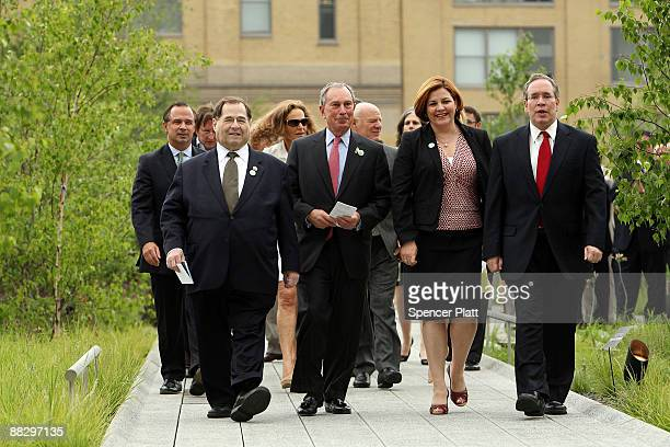 New York Mayor Michael Bloomberg walks with City Council Speaker Christine Quinn and Congressman Jerrold Nadler during a press preview and opening...