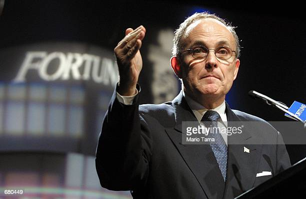 New York Mayor Rudolph Giuliani speaks at Fortune magazine's Leadership in Turbulent Times conference November 8 2001 in New York City