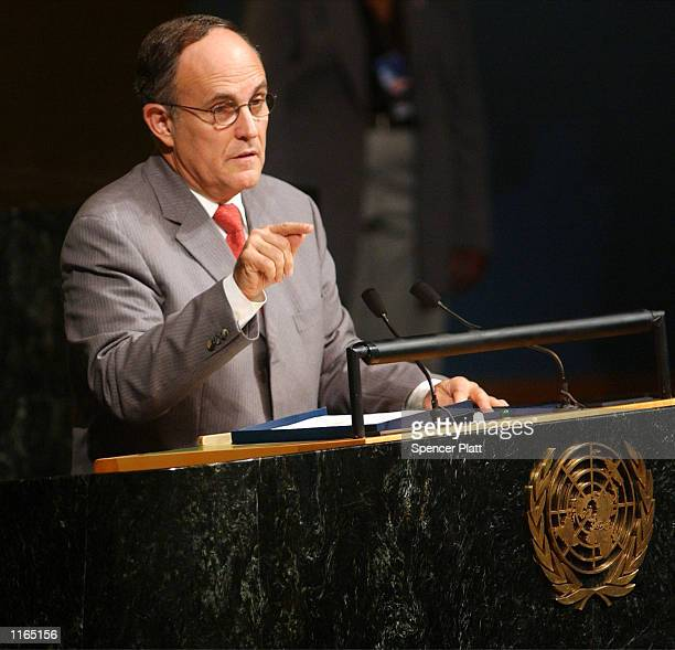 New York Mayor Rudolph Giuliani speaks at the opening of the fiftysixth session of the UN General Assembly October 1 2001 in New York City The mayor...