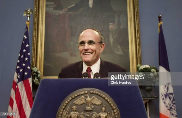 New York mayor Rudolph Giuliani speaks during a press conference April 27, 2000 at City Hall in New York City. Giuliani revealed that he has been...