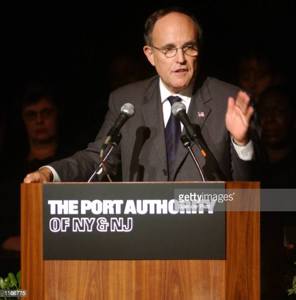 New York Mayor Rudolph Giuliani speaks in New York October 4 2001 at a service for the 74 Port Authority Police and civilians who lost their lives in...