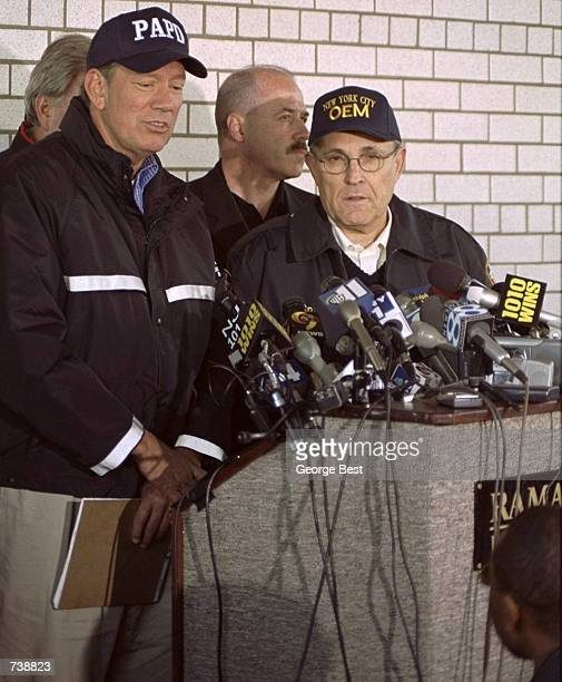 New York Mayor Rudy Giuliani and Governer George Pataki hold a press conference to answer questions about the crash of American Airlines flight 587...