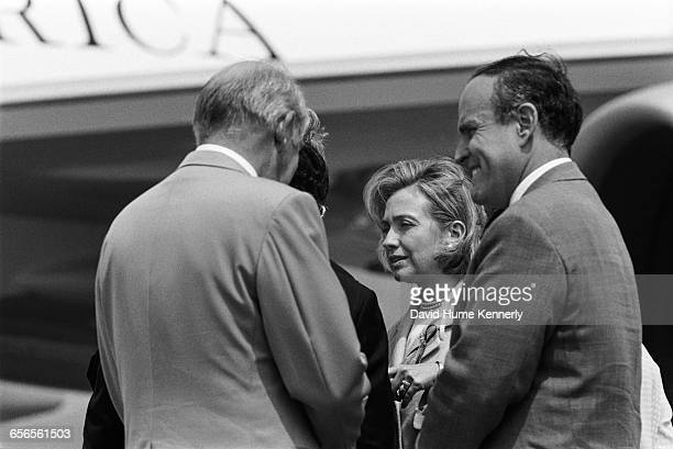 New York Mayor Rudy Giuliani First Lady Hillary Clinton and White House Chief of Staff Leon Panetta at JFK Airport in New York on July 26 1996 The...