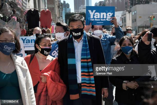 New York Mayoral Candidate Andrew Yang speaks to members of the media along Canal Street in Chinatown on April 05, 2021 in New York City. Yang, an...