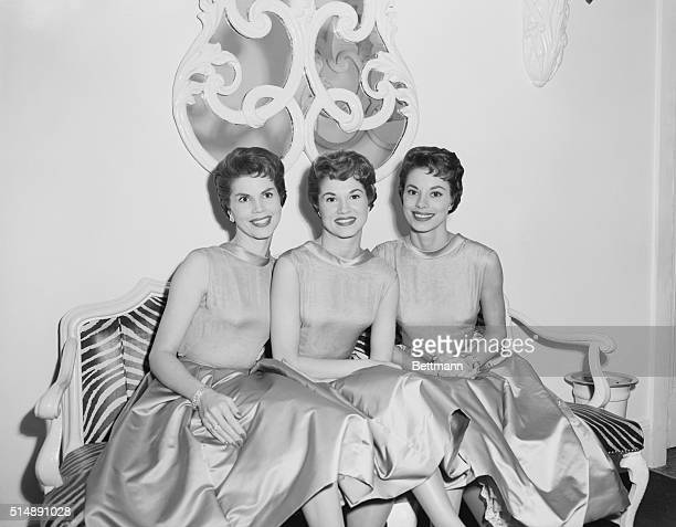 McGuire Sisters L to R Chris Phyllis and Dorothy at El Morocco Nightclub New York City