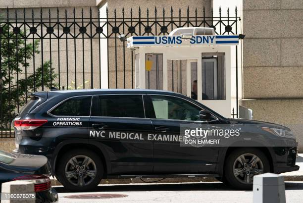A New York Medical Examiner's car is parked outside the Metropolitan Correctional Center where financier Jeffrey Epstein was being held on August 10...