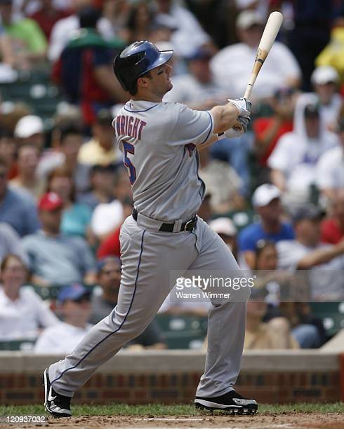 New York Met and 2006 All Star David Wright batting during game action at Wrigley Field in Chicago Illinois on July 14 2006 The New York Mets over...