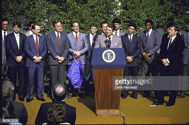 New York Mets after they won the World Series listening to President Ronald W Reagan speak in the Rose Garden