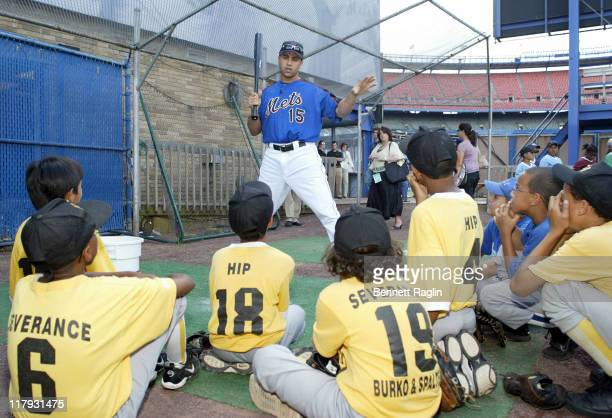 New York Mets Carlos Beltran and players at his Harlem RBI clinic at Shea Stadium in Queens New York on August 8 2006 Beltran pledged $500 for every...