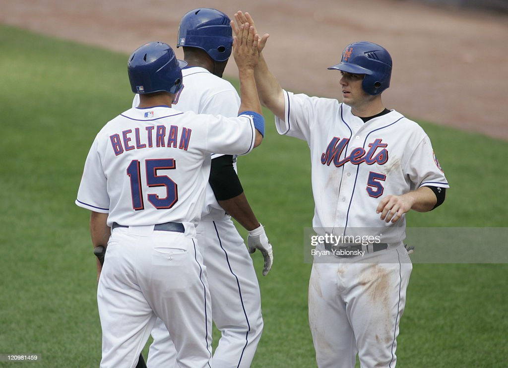 New York Mets Carlos Beltran Being Greeted By David Wright