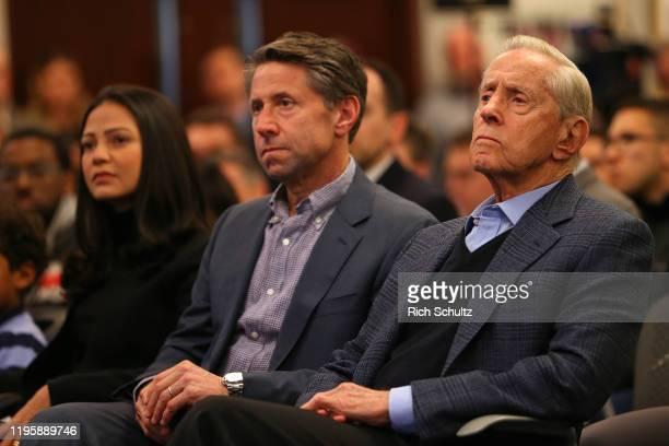New York Mets Chief Operating Officer Jeff Wilpon and Chairman of the Board Chief Executive Officer Fred Wilpon listen in as Luis Rojas is introduced...