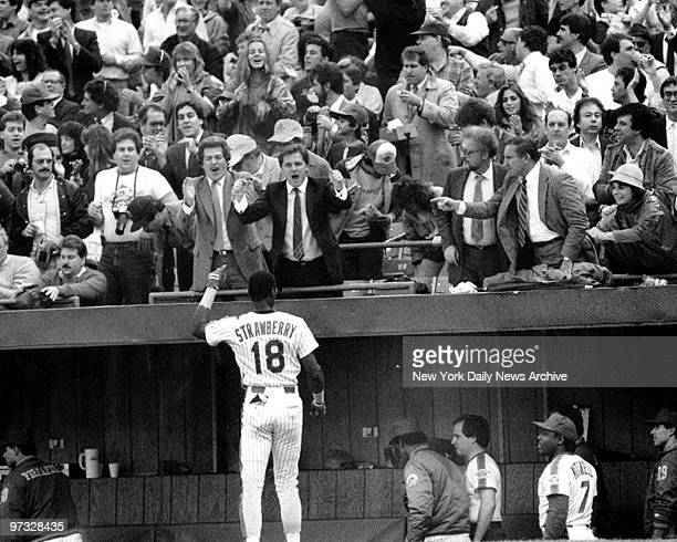 New York Mets Darryl Strawberry being congratulated after homer in 5th inning