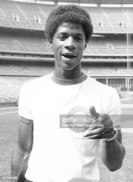 New York Mets' Darryl Strawberry on the practice field at Shea Stadium
