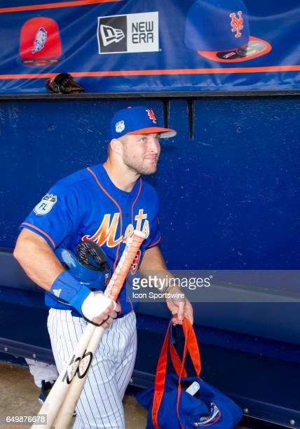 New York Mets Designated Hitter Tim Tebow in the dugout after a MLB spring training game between the Boston Red Sox and the New York Mets at...