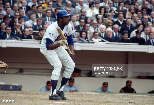 New York Mets' Donn Clentenon bunts against the Baltimore Orioles during the 1969 World Series at Shea Stadium in Flushing NY