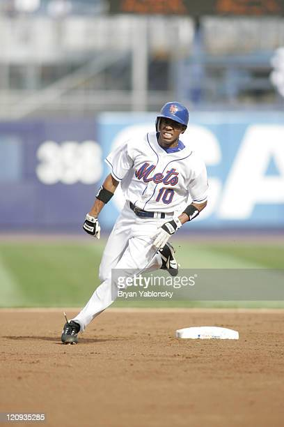 New York Mets Endy Chavez rounding second base in a regular season game against the Florida Marlins played at Shea Stadium in Flushing NY Mets...