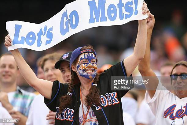 New York Mets fan shows her support for the team during the National League Division Series game against the Los Angeles Dodgers at Shea Stadium in...