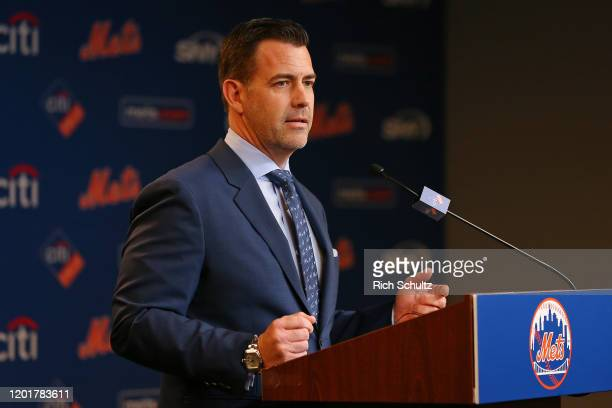 New York Mets General Manager Brodie Van Wagenen gets set to introduce new manager Luis Rojas to the media at Citi Field on January 24 2020 in New...
