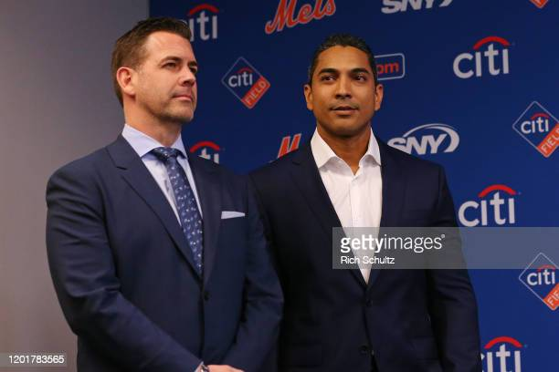 New York Mets General Manager Brodie Van Wagenen with new manager Luis Rojas before being introduced to the media at Citi Field on January 24 2020 in...