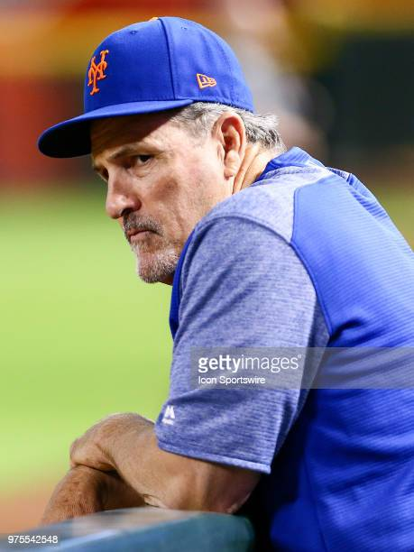 New York Mets hitting coach Pat Roessler stands in the dugout during the MLB baseball game between the Arizona Diamondbacks and the New York Mets on...
