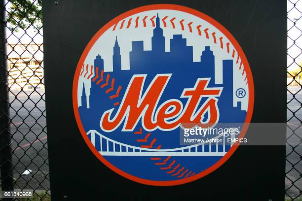 A New York Mets logo outside Shea Stadium home of the New York Mets baseball team