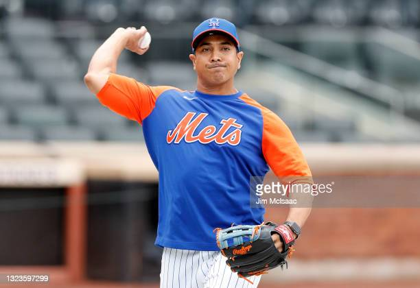 New York Mets manager Luis Rojas works out on the field before a game against the San Diego Padres at Citi Field on June 11, 2021 in New York City....