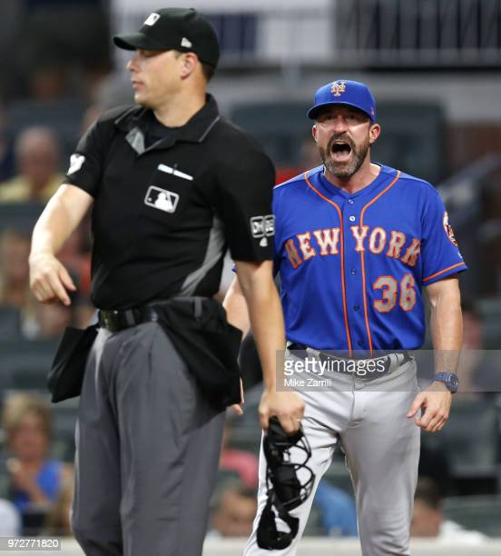 New York Mets manager Mickey Callaway is ejected for arguing a call by home plate umpire Stu Scheurwater in the sixth inning during the game against...