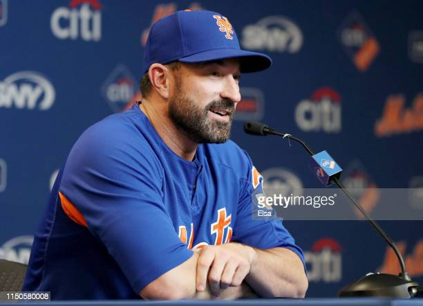 New York Mets manager Mickey Callaway of the New York Mets answers questions during a press conference before the game between the New York Mets and...