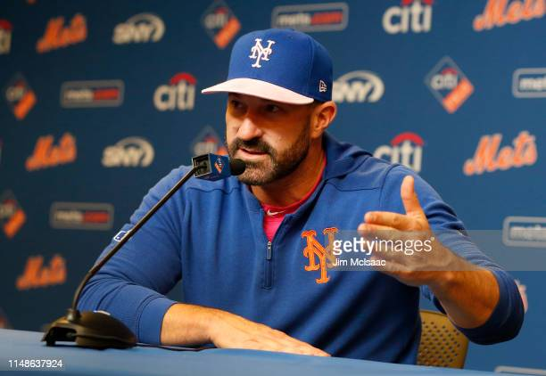 New York Mets manager Mickey Callaway of the New York Mets speaks at a press conference after a game against the Miami Marlins was postponed due to...