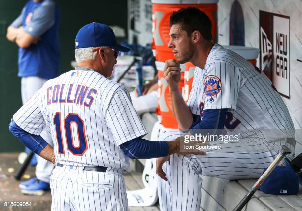 New York Mets Manager Terry Collins taps New York Mets Starting Pitcher Steven Matz on the knee after pulling his starter in the second inning go the...