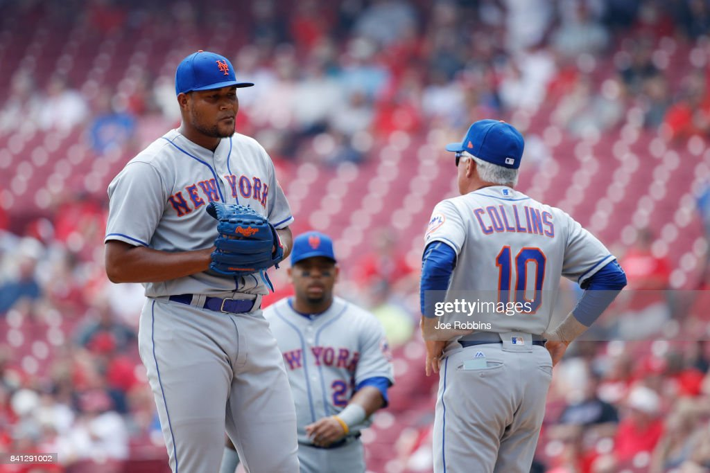 New York Mets manager Terry Collins walks to the mound to replace Jeurys Familia #27 after a home run by Joey Votto of the Cincinnati Reds in the seventh inning at Great American Ball Park on August 31, 2017 in Cincinnati, Ohio. The Reds defeated the Mets 7-2.