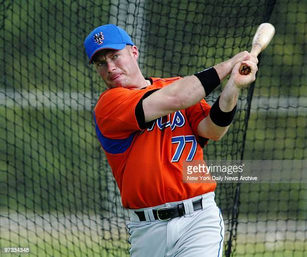 New York Mets' minor league infielder Russ Johnson takes swings in the batting cage at the Mets' spring training camp in Port St Lucie Fla