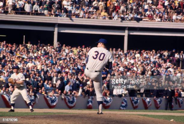 New York Mets' Nolan Ryan pitches against the Baltimore Orioles during the 1969 World Series at Shea Stadium in Flushing NY