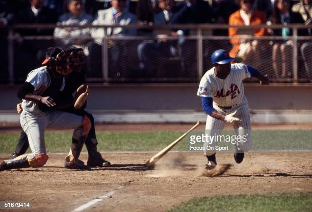 New York Mets outfielder Cleon Jones runs for first base after connecting with the ball during the1969 World Series against the Baltimore Orioles at...