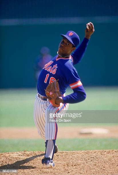 New York Mets' pitcher Dwight Gooden pitches during spring training at Shea Stadium circa the 1990's in Flushing New York