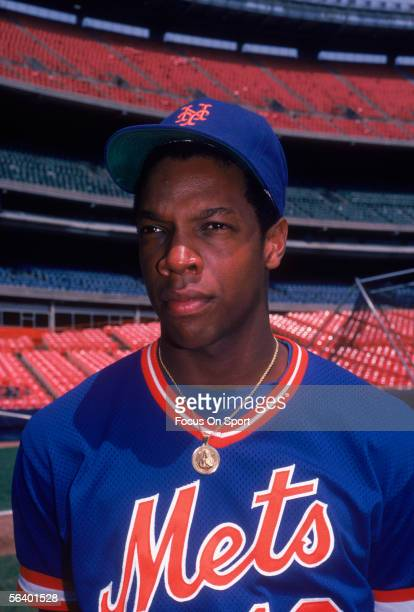 New York Mets' pitcher Dwight Gooden stands near the field during a game at Shea Stadium circa 1985 in Flushing New York Dwight Gooden was declared...