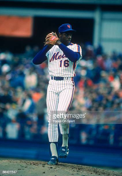 New York Mets' pitcher Dwight Gooden winds up on the mound to pitch during a game at Shea Stadium circa 1985 in Flushing New York