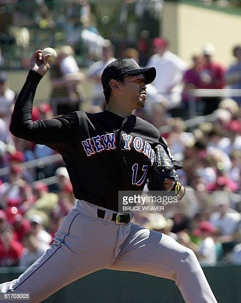 New York Mets pitcher Japanese Satoru Komiyama fires a ball 10 March 2002 during a game against the Saint Louis Cardinals in Jupiter Florida Komiyama...