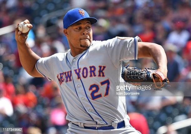 New York Mets Pitcher Jeurys Familia delivers a pitch during a game between the New York Mets and Minnesota Twins on July 17, 2019 at Target Field in...