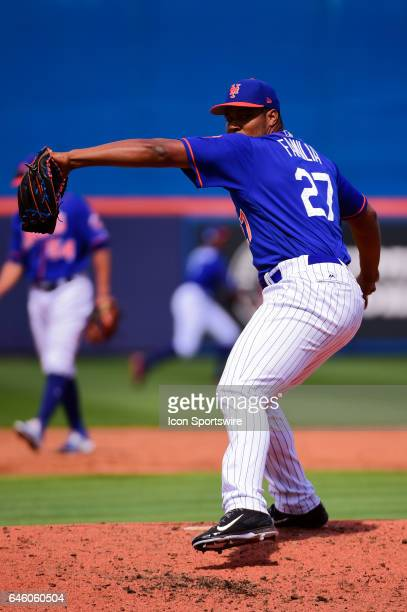 New York Mets pitcher Jeurys Familia delivers a pitch during a Spring Training game between the Houston Astros and New York Mets on February 27, 2017...