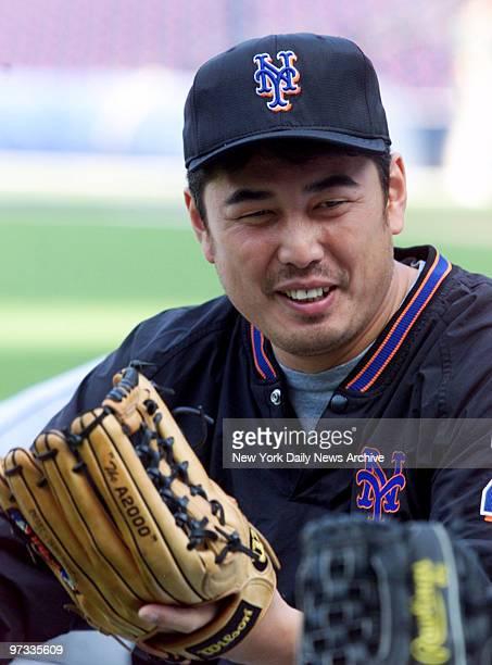 New York Mets' pitcher Masato Yoshii at practice for NLCS opener against the Atlanta Braves in Atlanta