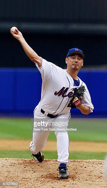 New York Mets' pitcher Masato Yoshii is on the mound against the Colorado Rockies at Shea Mets won 62