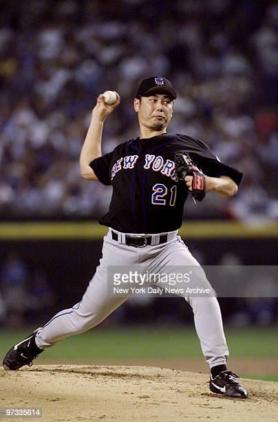 New York Mets' pitcher Masato Yoshii is on the mound against the Arizona Diamondbacks Mets beat the Diamondbacks 84 in first game of the National...