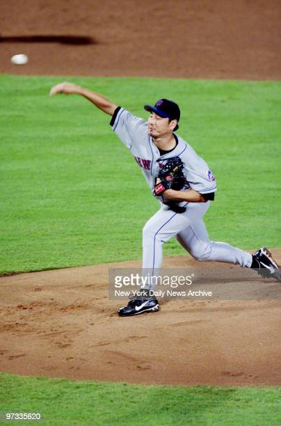 New York Mets pitcher' Masato Yoshii is on the mound in Game 1 of the NLCS against the Atlanta Braves in AtlantaThe Braves won 42 Yoshii left the...