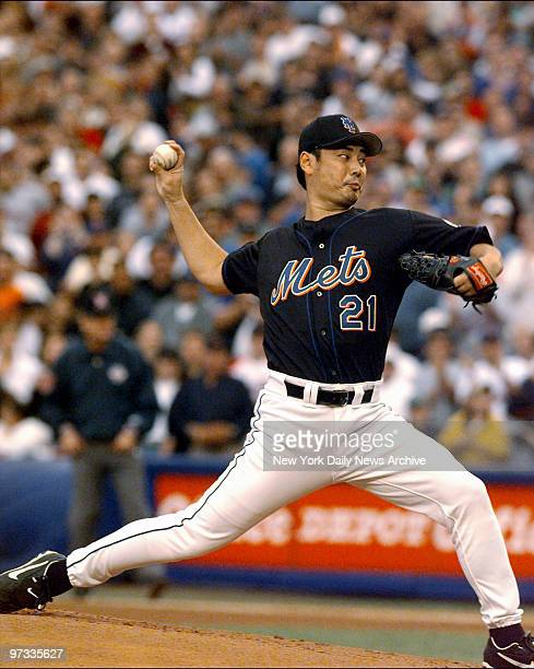 New York Mets' pitcher Masato Yoshii is on the mound in the first inning against the Atlanta Braves in Game 5 of the National League Championship...