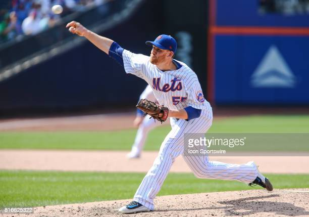 New York Mets Pitcher Neil Ramirez in action during the game between the Colorado Rockies and the New York Mets on July 16 2017 at Citi Field in...